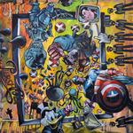 Cyber War Acryl auf Leinwand 120 x 120 cm, 2016